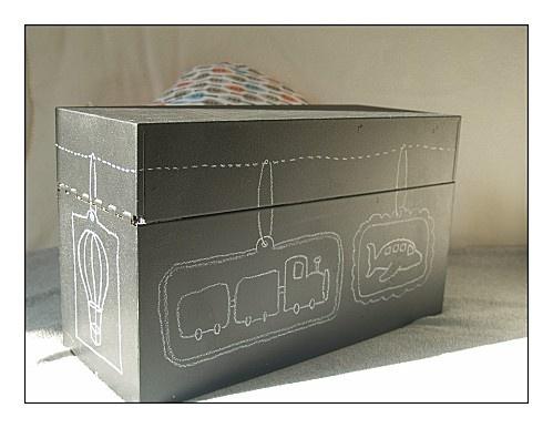 scatola ricoperta di carta-lavagna e decorata con gessetti