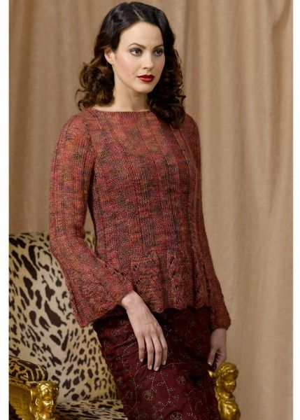 Ritratto Scalloped Ribbed Pullover, stunning beautiful and delicate long sleeved pullover/sweater with ribbed stitch and lace extended edge with flared long sleeves and boat neck. Sizes: Small, Medium and Large Free Pattern