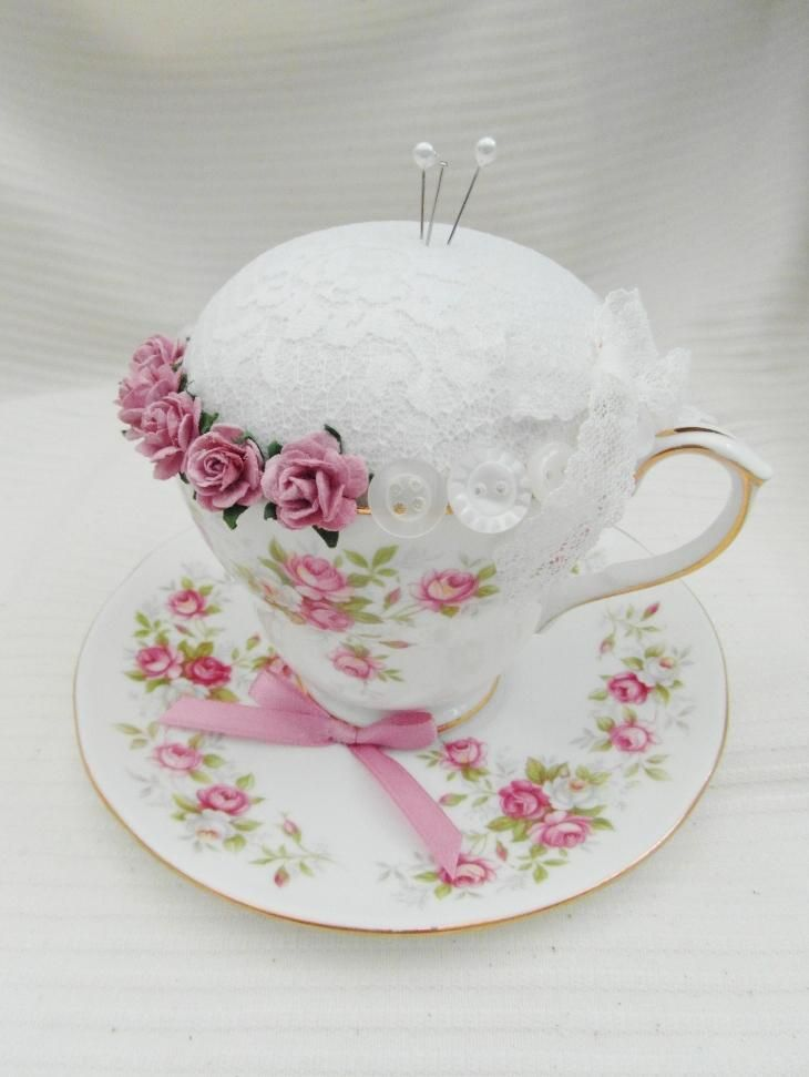 'Garden Party' Vintage Tea Cup and Saucer Pin Cushion