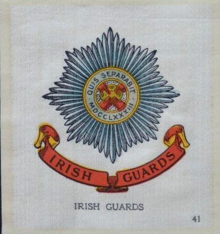 IRISH GUARDS - Regimental Badges, Union Flag & Colours - 1915 John Sinclair Ltd Silk Cigarette Card