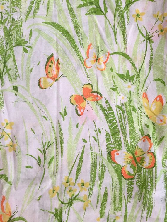 Vintage Twin Size Flat Sheet with Pretty Yellow Flowers, Green Foliage and Orange Butterflies - For Bedding or Fabric - Perfect for Spring