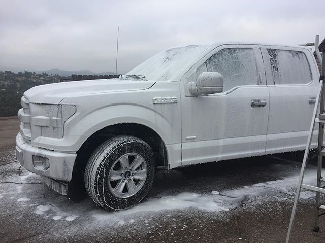 Added a little something to our snowfoam to help remove tree sap all over this new truck. 🙊🙈🙉 our elbows are saved 💪👏 · · · #alpine #ranchobernardo #lamesa #lajolla #oceanside #sealant #wax #claybar #mobiledetailing #detailing #detailingdoneright #sandiego #satisfactionguaranteed #windowtinting #windowtint #resdential #commerical #fleetwashing #pressurewashing #autopro #ceramiccoating #glass #hydrophobic #reclaim #thinkgreen #restyle_pros #lajollalocals #sandiegoconnection #sdlocals…
