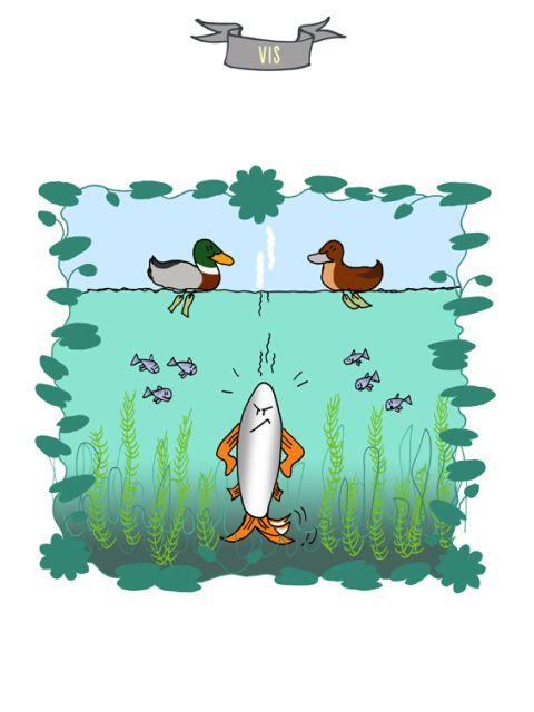 Dierenprenten. Boze vis. Bedoeld als inspiratie voor kinderen om er een verhaal bij te schrijven.