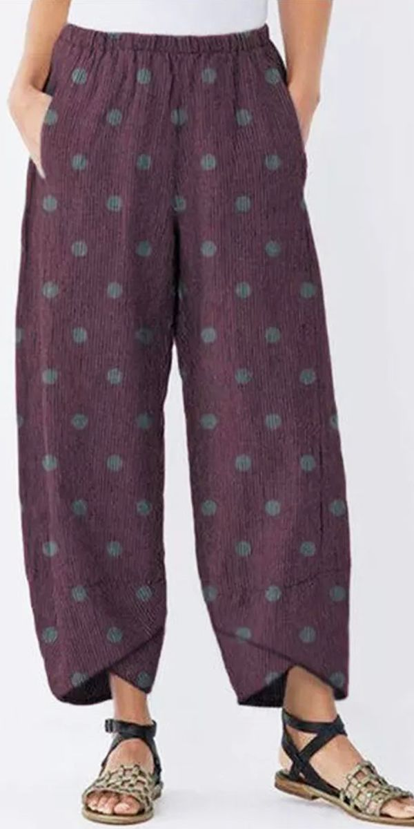 【57% off】Polka Dot Women Casual Pants