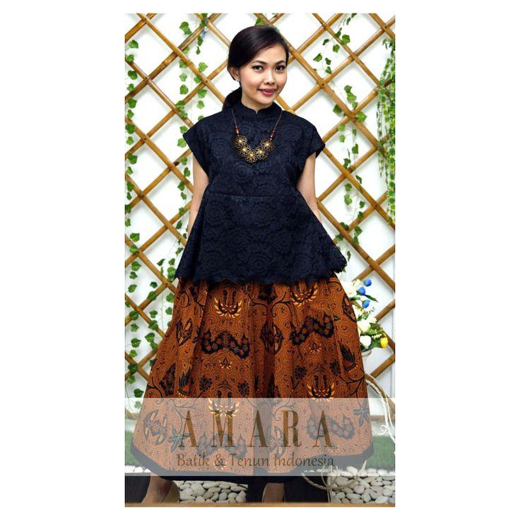 Sogan Flare Skirt with Black Brocade Top  www.amarabatik.com FP : Amara Batik & Tenun Indonesia