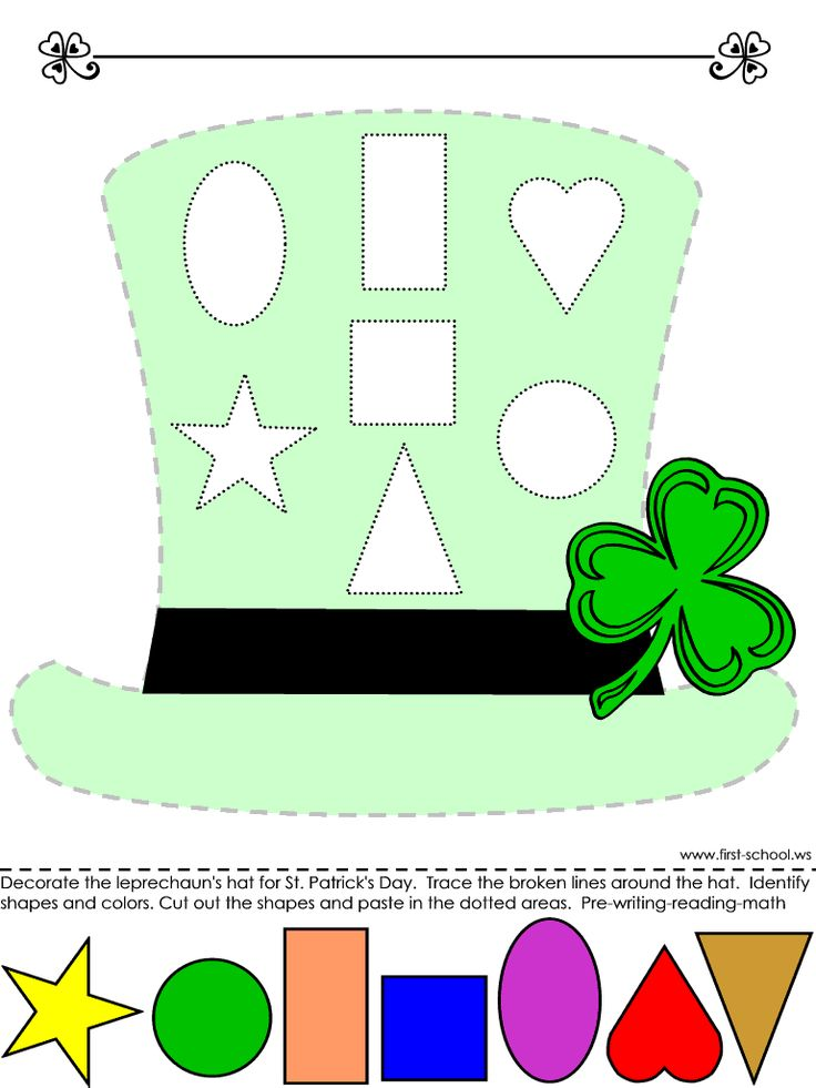 Leprechaun Hat > Learn colors and shapes, tracing with the cut-and-paste