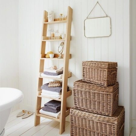 An Oak Shelf ladder is ideal for bathroom - perfect for displaying soft towels and natural sponge.