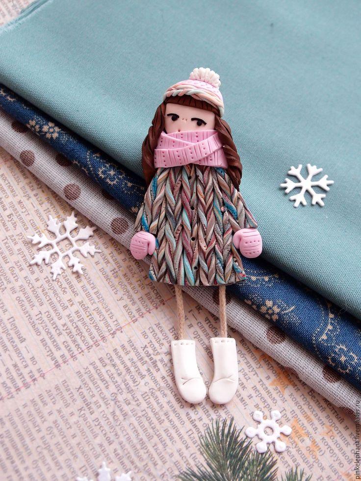 Polymer clay brooch | Купить Брошь зимняя.Девочка Настя .Первый день зимы. - мятный, розовый, голублй, коричневый