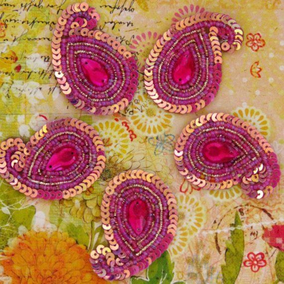 Sew on Beaded applique trim paisley hand by SilkRoute on Etsy, $6.25