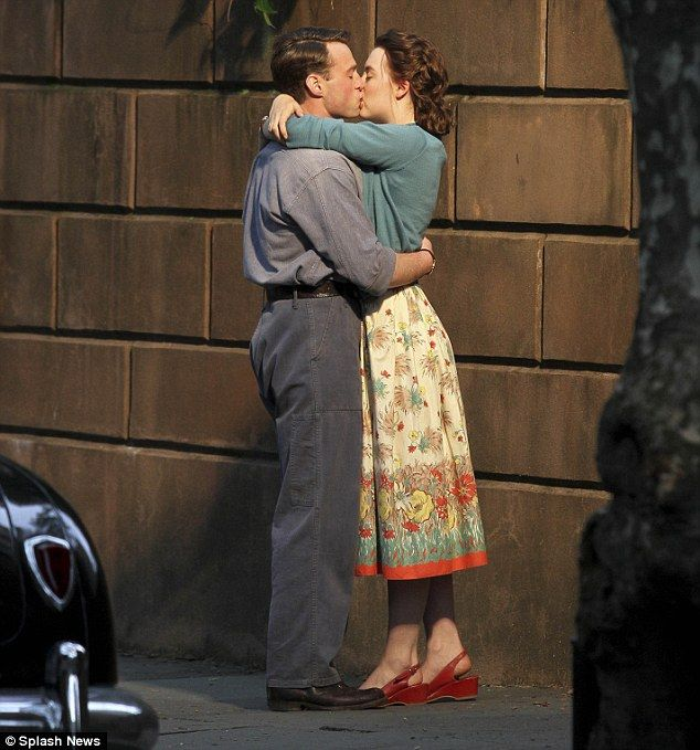 Embrace: Saoirse Ronan and Emory Cohen enjoyed a passionate kiss as they film new scenes f...