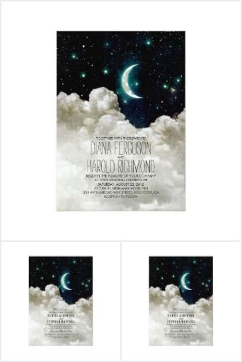 Moon and Stars Wedding Set Romantic Moon and Stars wedding invitations, bridal shower invites, engagement party invitations, and rehearsal dinner invitations with a night sky full of bight stars, the crescent moon, and clouds!