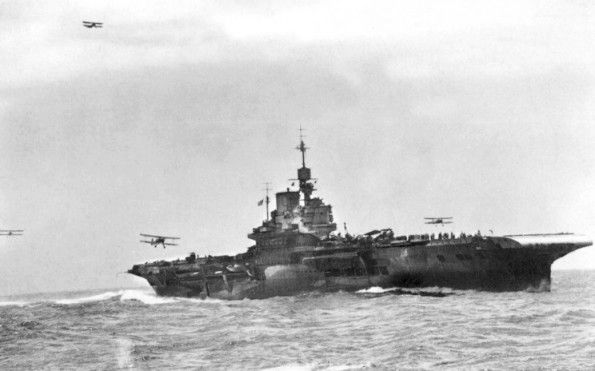 Twenty one Swordfish were launched from the new aircraft carrier HMS Illustrious for the raid on Taranto. Fifty per cent losses were expected.