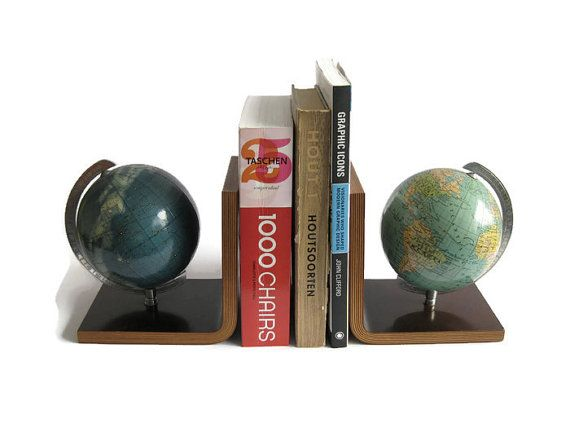 Mid Century Modern Bookends World and  Celestial by 35Orangestreet