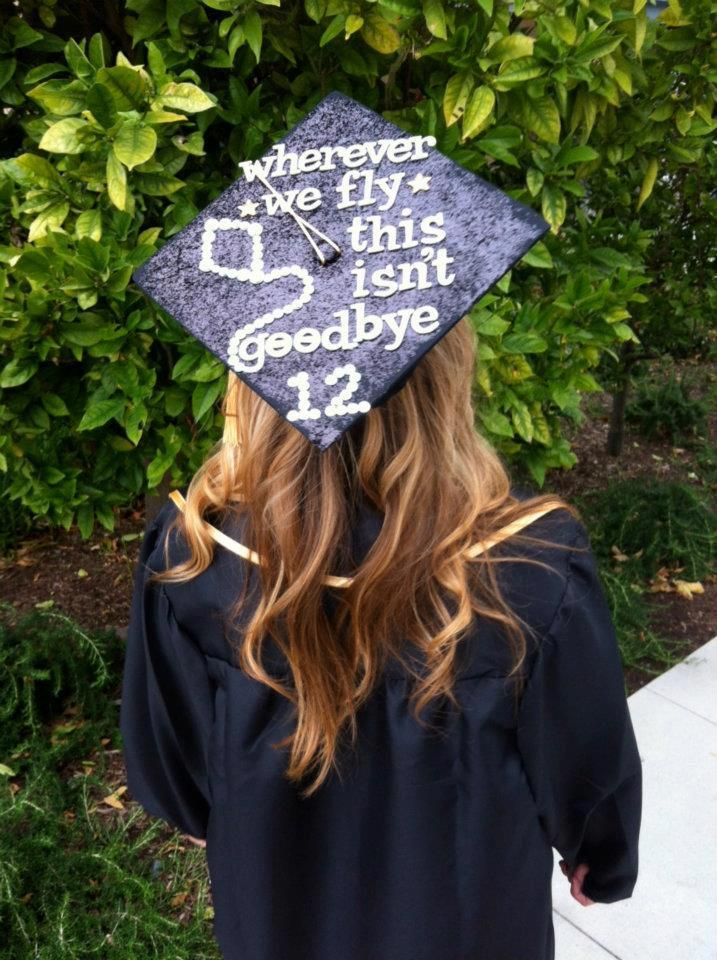 This is a fun graduation cap decoration idea. Try and think of something memorable or a quote that impacts you if you're thinking of doing this.