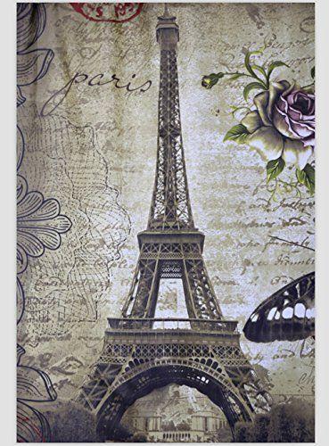 Paris Eiffel Tower Shower Curtain Waterproof Bathroom Curtain 72 X 72 Inch #JibinBong