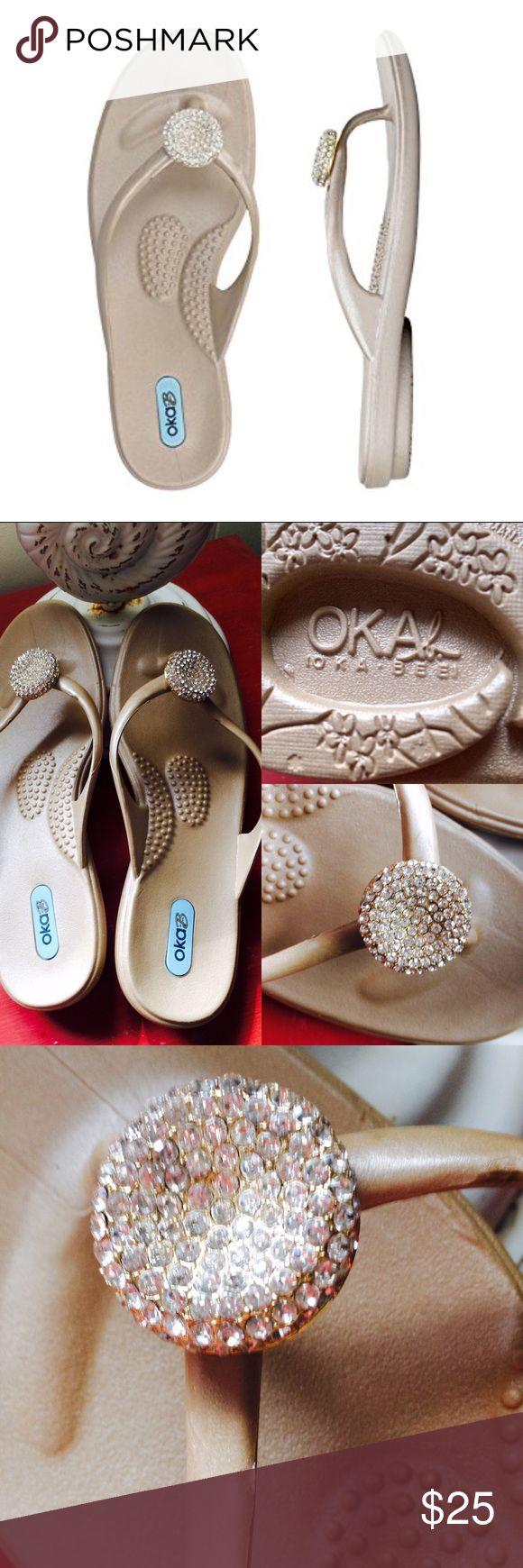 Oka-b Crystal Thong Flip Flops- Medium - NEW Oka-b Crystal Thong Flip Flops- Size Medium- fits size 7 to 8 - New, never worn- cream color Oka-b Shoes