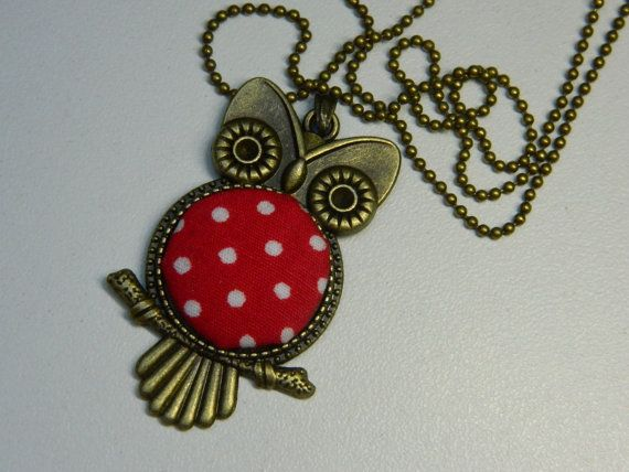 Red Fabric Button Owl Pendant Polka Dots by LittleRubyAtom on Etsy