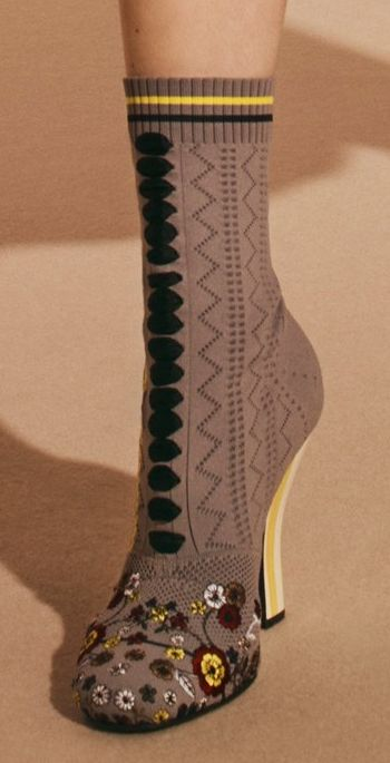 Love this unique granny style boot sock!! afrikarepublic.com Pre-Fall 2017 Fendi