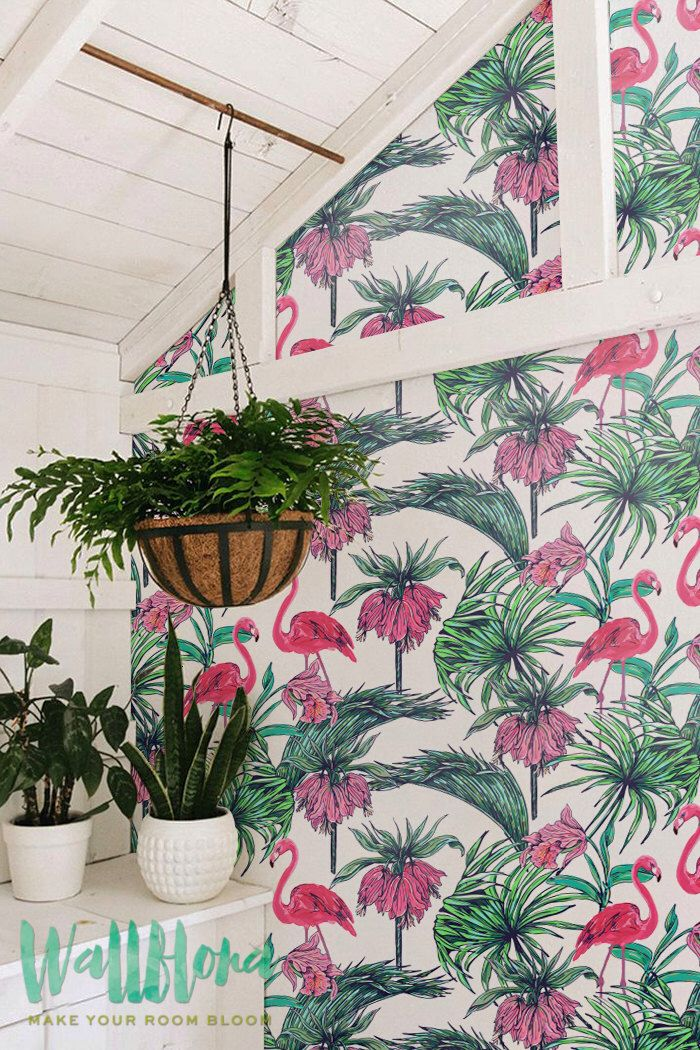 Flamingo & Bismarkia Wallpaper | Removable Wallpaper | Self Adhesive Wallpaper | Temporary Wallpaper | Wall Sticker | Wall Decal by WallfloraShop on Etsy https://www.etsy.com/uk/listing/241887437/flamingo-bismarkia-wallpaper-removable