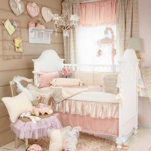 3p cute light pink white plain ruffle frill baby girl crib nursery