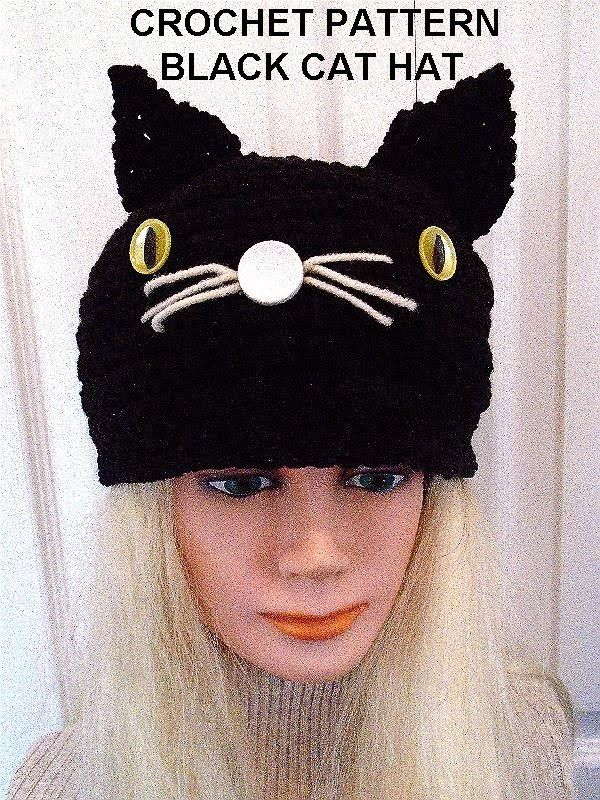Free Crochet Black Cat Hat Pattern : 1000+ images about Halloween on Pinterest