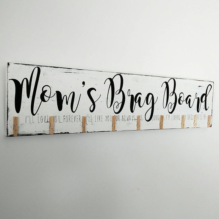 Reward for mother, Mother's brag board photograph show, Christmas reward, look what I made signal, We'll love you for ever ,Picket Signal, Hand Painted 32″