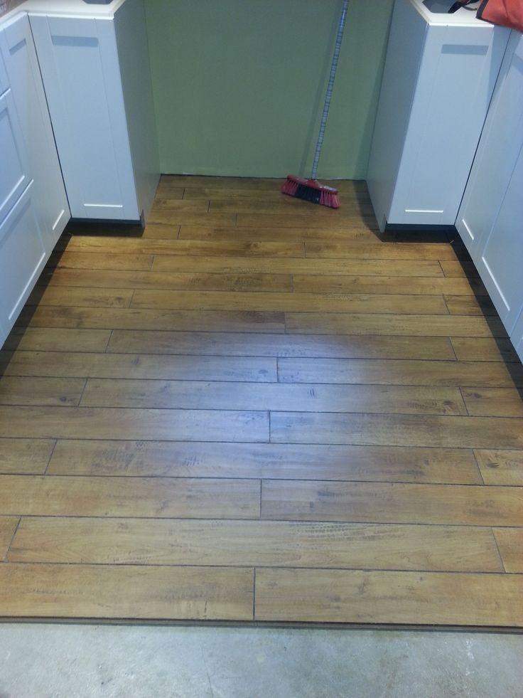 Floor being installed.**COSTCO** Laminate Antique Oak