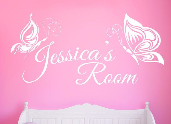 Personalised Butterflies Wall Decal   Any Name Butterfly Wall Sticker Part 93