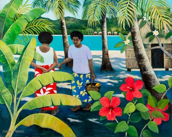 Fiji figures with hibiscus