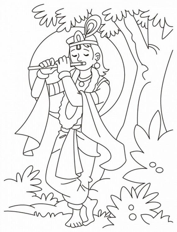 Shri Krishna Janmashtami Coloring Printable Pages For Kid