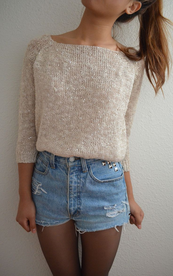 high-waisted denim shorts + tights + loose sweater