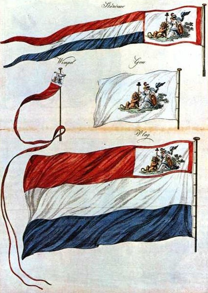 Flag and pennants of the Batavian Republic. The canton features the Netherlands Maiden. This Day in History: Mar 20, 1602: Dutch East India Company founded http://dingeengoete.blogspot.com/