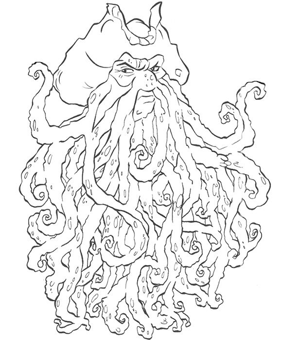 davy jones pirates of the caribbean coloring page s pinterest caribbean Caribbean Map Coloring Sheet  Caribbean Coloring Sheets