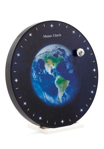 Stay a Little Orbit Longer Clock - Black, Green, Blue, Novelty Print, Dorm Decor, Scholastic/Collegiate
