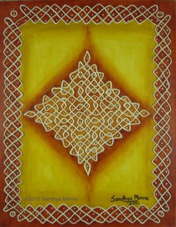 """Mixed Media Kolam Four"""" has been inspired by the ancient Indian art.. It is considered the symbolic way of welcoming the guests and the  God and Goddess into the house."""