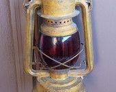 Античный керосинщика Полл в Нет 230 Красный фонарь стекла