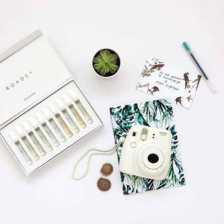 Avery perfume, succulent and Instax camera