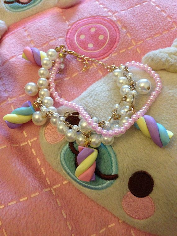 Rainbow Pastel Marshmallows And Pink And White Pearls by zefora