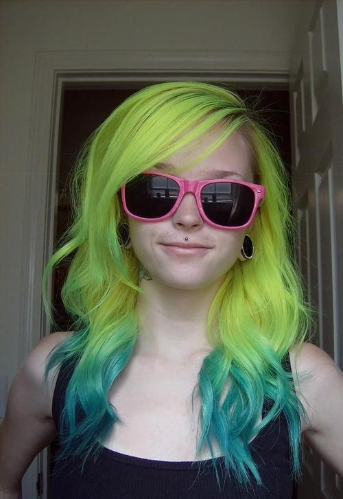 : Hair Ideas, Hair Colors, Green Ombré, Ombre Hair, Hair Style, Green Hair, Dips Dyed Hair, Neon Yellow, Colors Hair