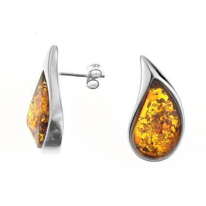 Cherry Amber Sterling Silver Drop Stud Earrings Efg5Y9beW