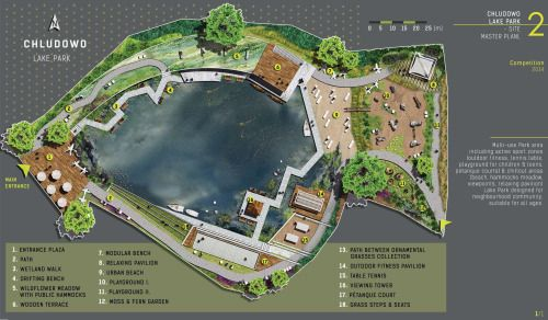 Competition project: CHLUDOWO LAKE PARK, site master plan,Designed by: Daria Szalinska (MLA) 2014