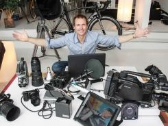'Amazing Race's' Phil Keoghan is a gearhead.  A PDW-F800 is one of the products he totes on the road.: Camera Manufacturers, Road, Bag Includes, Macbook Pro, Amazing Race S