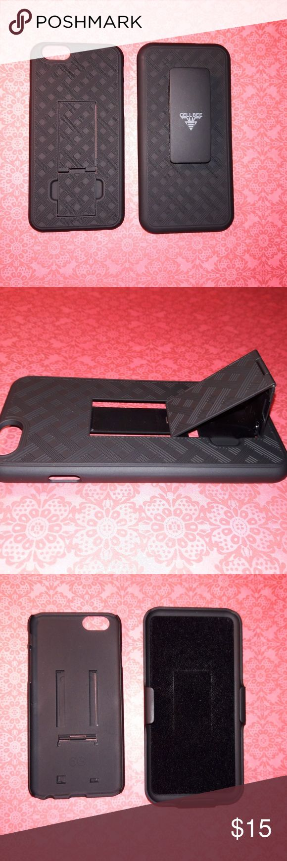 Iphone 6/6S Black Rugged Holster Kickstand Case For your consideration is one new Iphone 6/6S Black Rugged Holster Clip Kickstand Phone Case. Elevated edges allows for secure usage preventing your screen from being shattered if dropped.*Rubberized textured finish conveniently provides outstanding grip.*The belt clip rotates 180 degrees to provide you with ultra-flexibility. Enjoy all your media along with Amazon Prime videos and Netflix videos with the ingenious built in kickstand.*Easy…