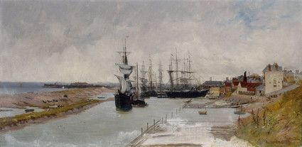 "Oil painting from the Fine Art collection. ""Southwick Harbour View"" by J.S. Kinnear, showing several boats in the harbour at Southwick. 1879."