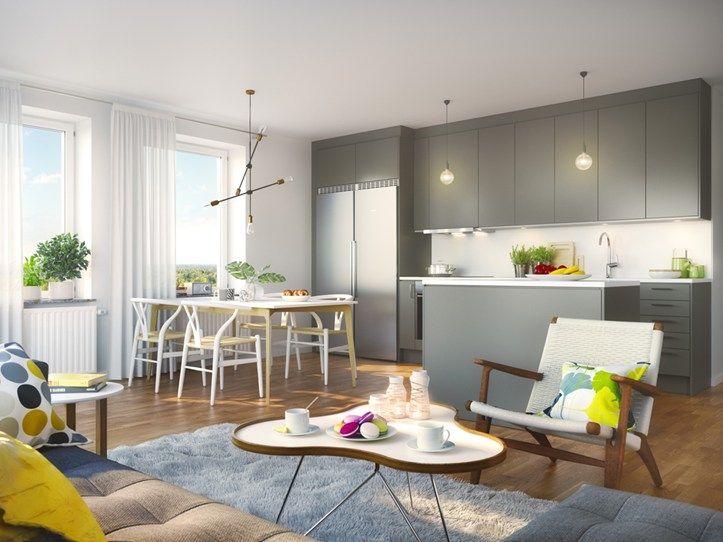 Modern kitchen in Brf Blicken in Haninge.