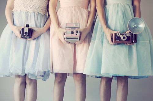 Fluffy pastel skirts and cameras. Could it be better?