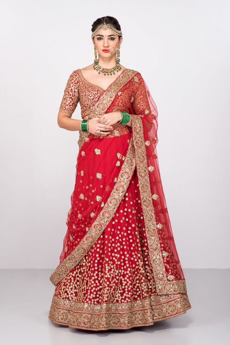 Beautiful red gold bridal lehenga by Sabyasachi. Click on image to know the price #Frugal2Fab