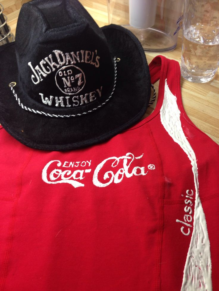 DIY couple Halloween costume! Fabric paint a cowboy hat and a red tshirt! Whiskey and Coke . The girl wears the shirt with accessories and the boy wears the hat with a jack Daniels tshirt!