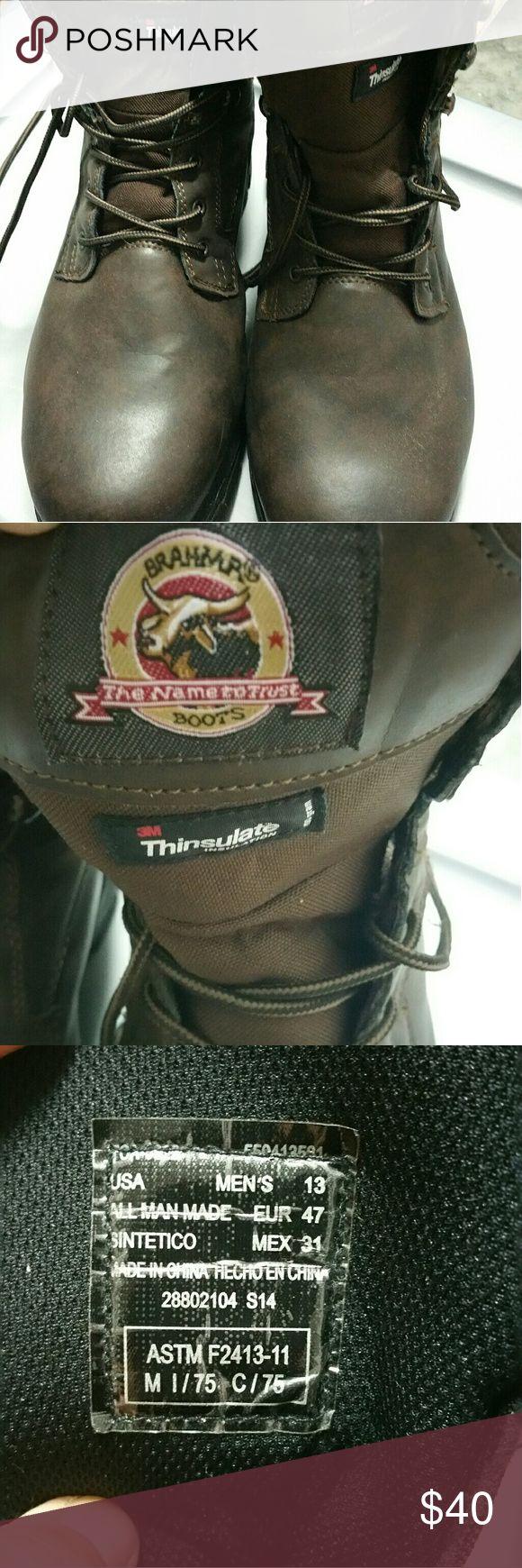Men's 13 Brahma Brown steel Toe Boots Men's 13 Brahma Brown steel Toe Boots. 3m Thinsulate Insulation. Worn 2 times. Above ankle boot. brahma Shoes Boots
