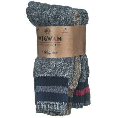 Wigwam Socks: Unisex S2324 001 Assorted American Wool 3 Pack Boot Socks  $13.99 Limited quantities. No Rainchecks